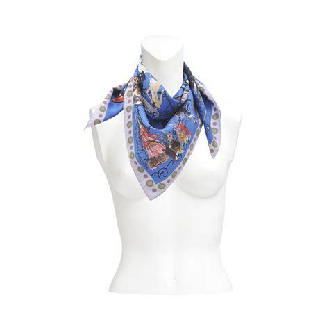 christian lacroix croquis silk scarf 70x70 in blue