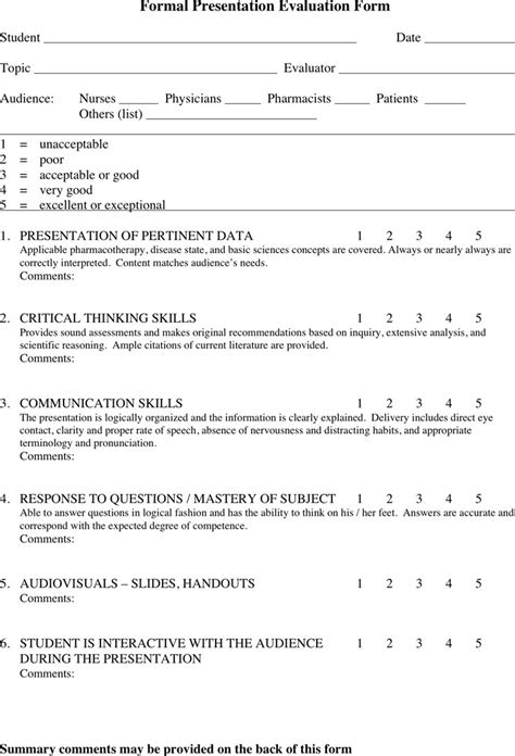 evaluation templates for presentations presentation evaluation form download free premium