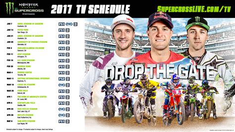 ama motocross tv schedule 2017 energy supercross tv schedule transworld