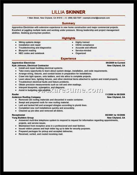 Electrician Resume Sle India electrical resume sle 28 images electrician resume sle