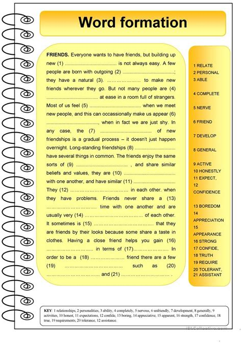 patterns of english word formation friends word formation worksheet free esl printable
