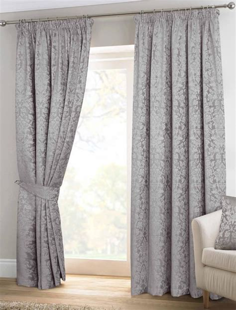 thermal velvet curtains grey velvet jacquard pencil pleat lined thermal curtains