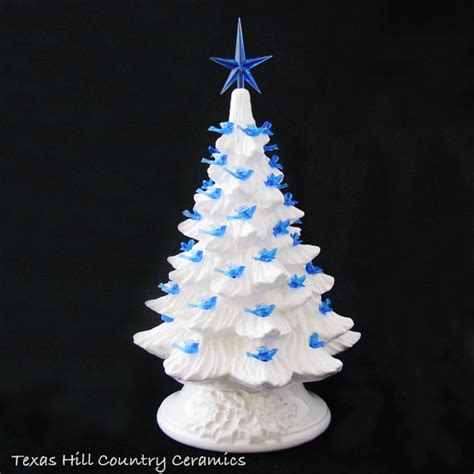winter white ceramic christmas tree 11 1 2 inch tall blue dove