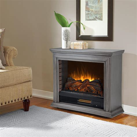 gray fireplace pleasant hearth 32 in freestanding mobile