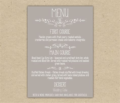 dinner menu template word it resume cover letter sle