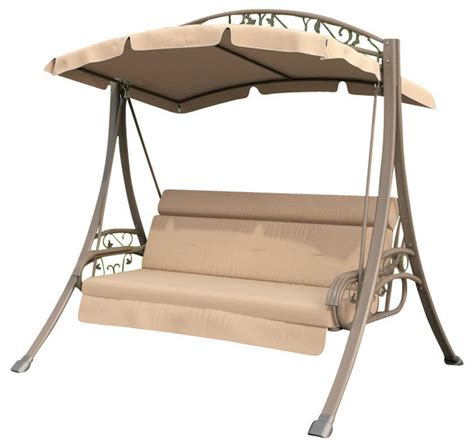 Nantucket Patio Swing Corliving Nantucket Patio Swing With Arched Canopy Beige