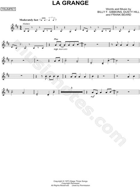 Lyrics To La Grange by Zz Top Quot La Grange Quot Sheet Trumpet In D Major