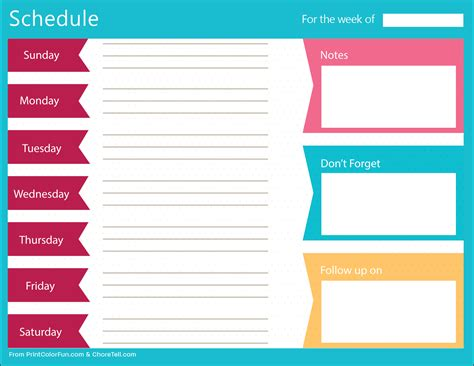 Printable Schedule clean bold printable weekly schedule planner free