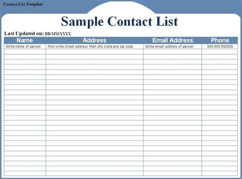contact templates doc 657508 customer list template for excel bizdoska