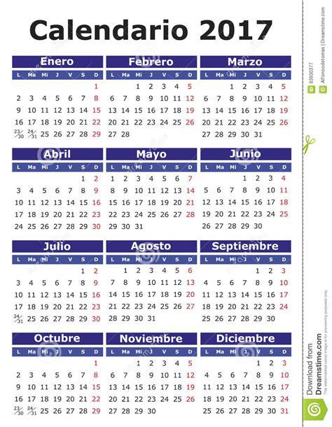 Calendario Z Calend 225 Espanhol 2017 Ilustra 231 227 O Do Vetor Imagem