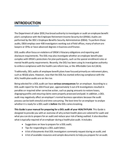 Erisa Attorney Cover Letter by Dol Erisa Audit Guide Accurate Insurance Solutions Ta