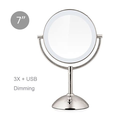 5x lighted makeup mirror led lighted makeup mirror magnifying 3x 5x silver sided