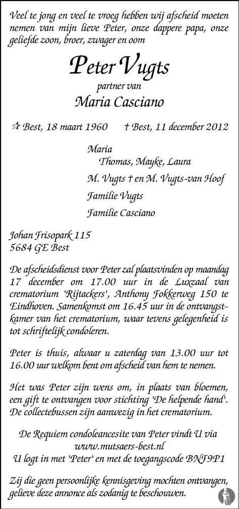 Peter Vugts 11-12-2012 overlijdensbericht en condoleances