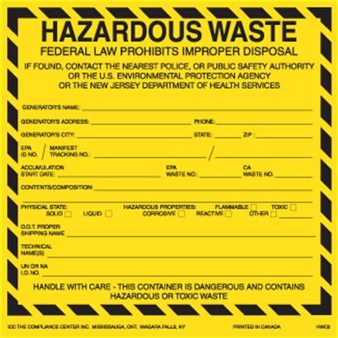 Hazardous Waste Labels For New Jersey 6 Quot X 6 Quot Thermalabel Blank Icc Canada Online Store Free Hazardous Waste Label Template