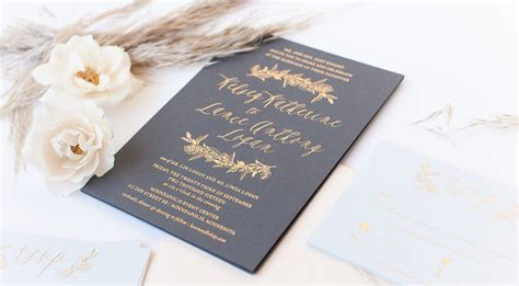 Gold Foil Wedding Invitations foil greenery invitations paper rock scissor
