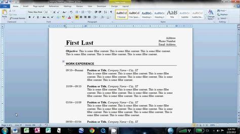 how to make a resume on word 2010 how to make an easy resume in microsoft word