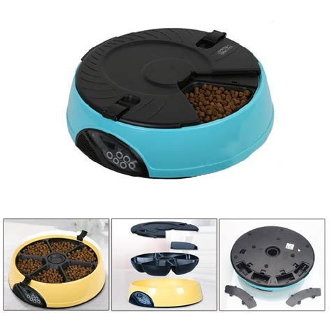 Programmable Water Feeder 6 meal tray programmable timer automatic pet cat feeder water tray bowl blue