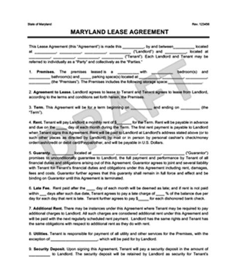 Maryland Residential Lease Rental Agreement Create Download Md Lease Agreement Template