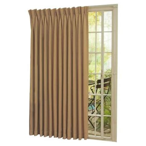 Patio Door Thermal Insulated Drapes Eclipse Thermal Blackout Patio Door 84 In L Curtain Panel In Wheat 12109100x084wht The Home Depot