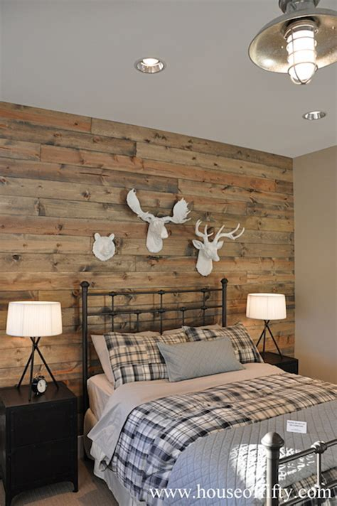 wood accent wall country bedroom house  fifty