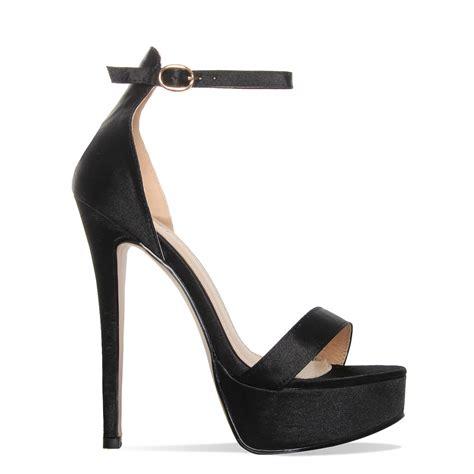 black platform selena black satin platform stiletto heels simmi shoes
