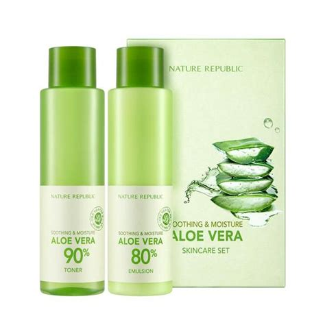 Nature Republic Soothing Moisture Aloe Vera Emulsion Review soothing moisture aloe vera skin care set