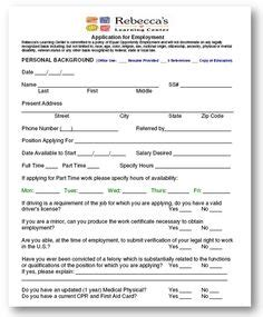 child care employment application template child care employment application template search