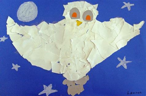 Snowy Owls Torn Paper Collage January 2013 Crafts - 90 best images about owl crafts activities for on