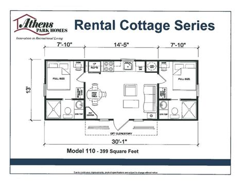 Park Model Home Floor Plans | floor plan athens park model home tiny home living