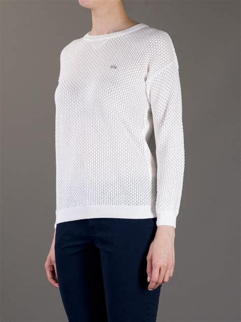 white pattern knit sweater lacoste l ive pattern knit sweater in white lyst