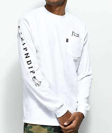 Kaos T Shirt Ripndip Lord Nermal Pocket Pink rip n dip clothing ripndip t shirts hats stickers