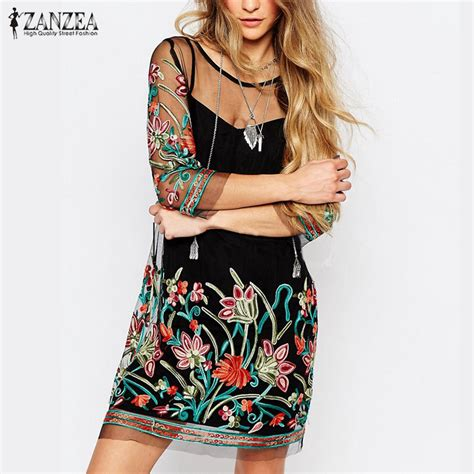 summer dress 2017 boho floral embroidery lace mesh dress 3 4 sleeve mini dresses casual
