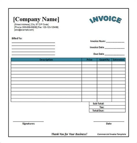 Simple Invoice Template Printable Invoice Template Simple Commercial Invoice Template