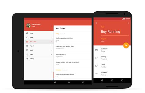 material design header android todoist for android update brings material design to the
