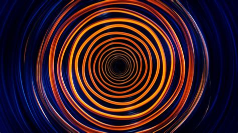 wallpaper circles neon waves colorful orange dark