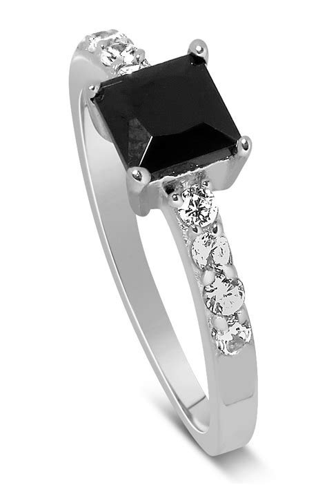 1 Carat Black Engagement Ring by Luxurious 1 Carat Princess Cut Black And White