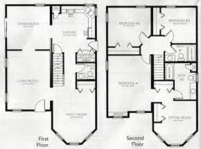 4 bedroom 2 bath floor plans two story house plans