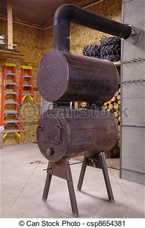 Shop Stove This Is A Homemade Double Barrel Steel Wood