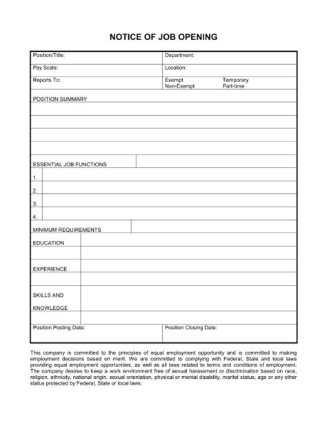 description form template notice of opening form template sle form