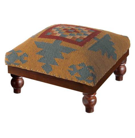 kilim footstool ottoman ozark lodge rustic southwest kilim foot stool ottoman