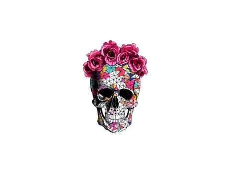 sugar skull temporary tattoo geometrics sugar skull with floral crown temporary