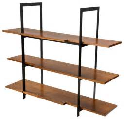wall shelves unit wood and black steel shelving unit modern display and