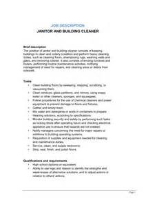 janitor and building cleaner description