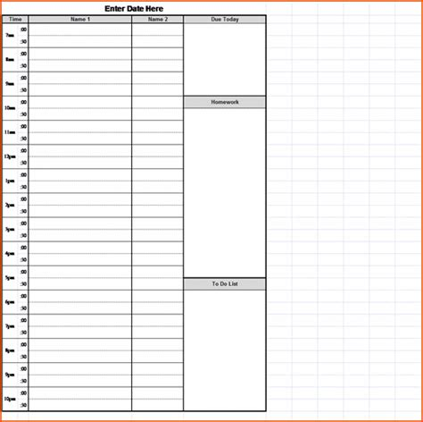 weekly calendar with hours template 3 hourly schedule template bookletemplate org