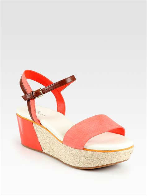 orange suede sandals cole haan arden suede leather espadrille wedge sandals in
