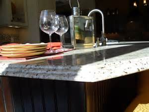 Best Countertops For Kitchens by Triple Waterfall Edge On New Venetian Gold Capitol Granite