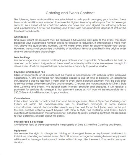 catering contract template 11 catering contract templates free word pdf