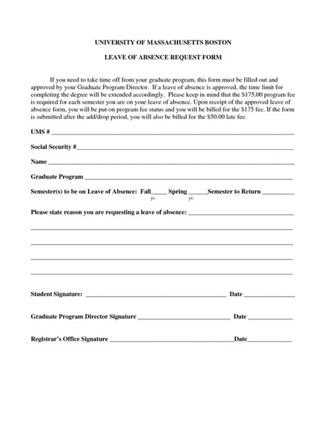 Absence Request Form Sle Forms Leave Of Absence Template