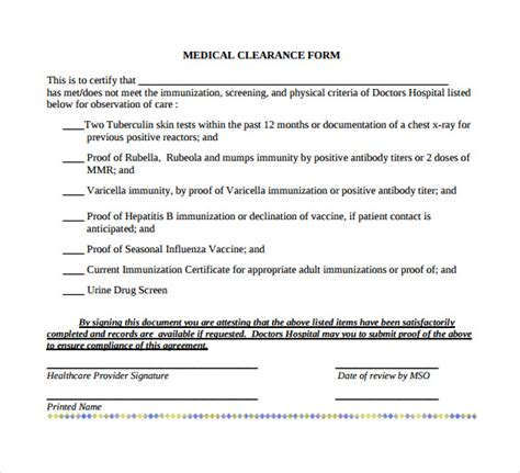 clearance for surgery template sle clearance form 8 free documents