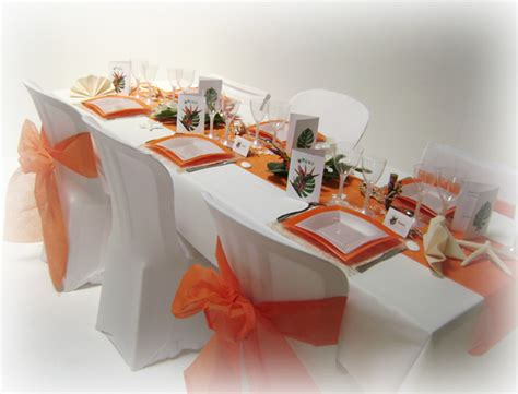 d 233 coration mariage tropical en orange et blanc
